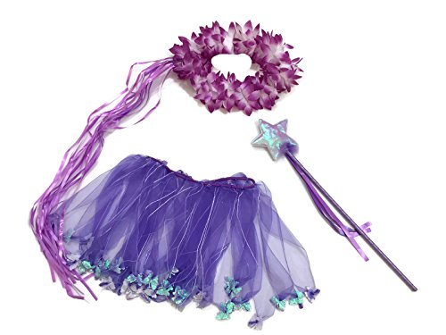 [Rush Dance Purple Butterfly Ballerina Tinkerbell Fairy- Wings, Wand, Halo & Tutu] (Tinker Bell Child Tiara)