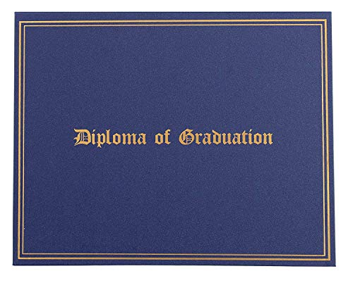 Diploma of Graduation Holder - Certificate Holder with Gold Foil Imprint, Diploma Cover for Letter-Sized Award Paper, 4 Corner Ribbons, Navy Blue, 11.5 x 9 Inches