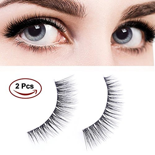 WEIJI 1 Pair Fake Eyelashes, Reusable 3D Natural False Lashes - Long & Soft