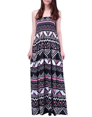 (HDE Women's Strapless Maxi Dress Plus Size Tube Top Long Skirt Sundress Cover Up (Pink Black Tribal,)