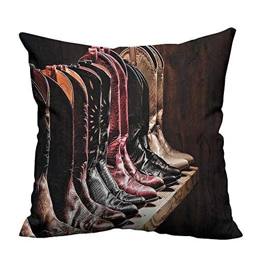 YouXianHome Home DecorCushion Covers Embellished Rodeo Fancy Cowgirl Boots Collecti Image Brown Comfortable and Breathable(Double-Sided Printing) 24x24 inch