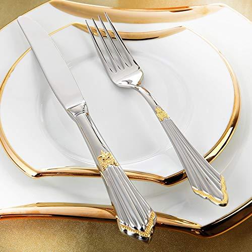 yywl Juego de Cubiertos Set de Cubiertos Plata Plateada cuberter/ía Set de Cena Conjuntos Cuchillos de Acero Inoxidable Horquillas Royal Dining Table Ajuste Western Dinnerware Set