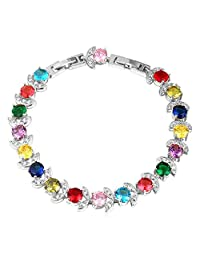 Gold Plated Colorful Cubic Zirconia Bracelet