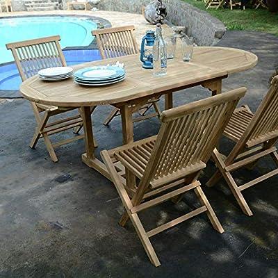 Salon de Jardin en Teck Ecograde Hawai, Table Extensible 1 ...