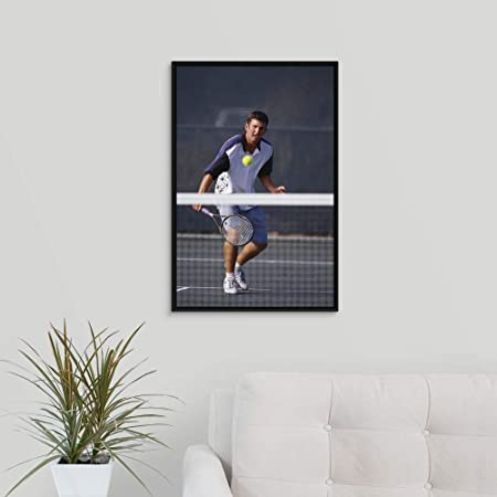Amazon.com: Chris Trotman Floating Frame Premium Canvas with Black Frame Wall Art Print Entitled Young Male Tennis Player in Action 16
