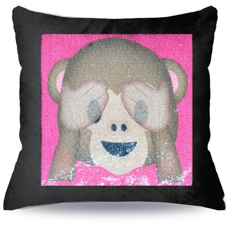 Amazon EmojiPals Reversible Sequin Decorative Pillow Now You Simple Monkey Covering Eyes Emoji Pillow