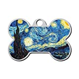 WWQE-47 The Star-ry Night Custom Pet' Names & ID Number Front & Back Tags Personalized Dog & Cat Tags Bone Shape