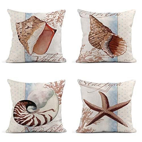 - Tarolo Set of 4 Blue Blue Red Orange Pink Shell Tropical Coastal Volute Coral Triton Nautilus Starfish Polka Dot Decorative Linen Throw Pillow Covers Case Cushion 20