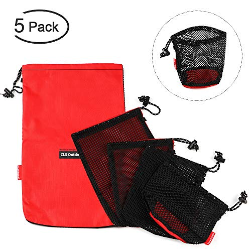 - Makerfun 5 Pack Mesh Bag Multifunctional Drawstring Bags Mesh Stuff Sack for Camping, Hiking, Traveling and Gym Clothes 4 Assorted Sizes Red Mesh Storage Bag Set