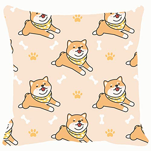 - cute shiba inu seamless pattern animals wildlife abstract Animals Wildlife backgrounds textures abstract Backgrounds Textures Decorative Pillow Case Home Decor Pillowcase (18x18 Inches) Colourful