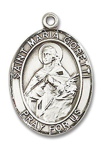 Saint Maria Goretti Medal (Men's Sterling Silver Saint Maria Goretti Oval Medal - Pendant Only)