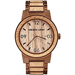 Original Grain Men's Whiskey Barrel Wood Wrist Watch with Brushed Espresso St...