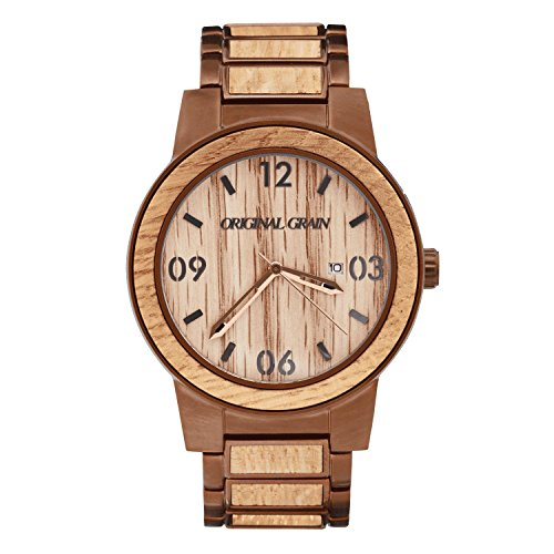 Original Grain Men's Whiskey Barrel Wood Wrist Watch with Brushed