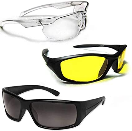 229fd22a22b Drake Wonder HD Vision Wrap Arounds Maximum Protection Amazing Clear and  Sharp View High Definition Sunglasses(Set of 3)  Amazon.in  Home   Kitchen