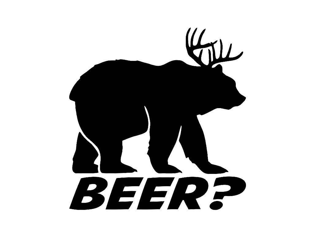 KCD269 Bear plus Deer equals BEER Vinyl Die Cut Decal Sticker | Cooler Fridge Cars Trucks Vans Walls Toolbox Laptop | Black | 5.5 In Decal | KCD269