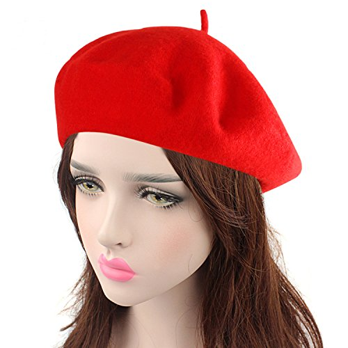 HowYouth Vintage 1940s French Style Classic Solid Color Art Wool Beret Beanie Hat Unisex Cap (Red)