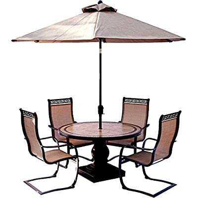 Hanover MONDN5PCSP-SU Monaco 5 Piece Set with C-Spring Chairs, Tile-top Dining 9' Table Umbrella Outdoor Furniture, Tan - 5-Piece Dining set from the Monaco collection Set includes four outdoor sling-back Dining chairs, a tile-top Dining Table, and 9 ft. Table umbrella 51 in. Round Table with handcrafted tile top - patio-furniture, dining-sets-patio-funiture, patio - 51Vq5EO1WyL. SS400  -