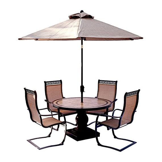 Hanover MONDN5PCSP-SU Monaco 5 Piece Set with C-Spring Chairs, Tile-top Dining 9' Table Umbrella Outdoor Furniture, Tan - 5-Piece Dining set from the Monaco collection Set includes four outdoor sling-back Dining chairs, a tile-top Dining Table, and 9 ft. Table umbrella 51 in. Round Table with handcrafted tile top - patio-furniture, dining-sets-patio-funiture, patio - 51Vq5EO1WyL. SS570  -