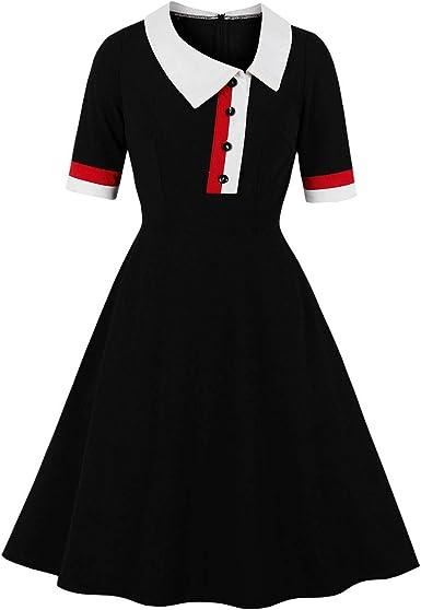 Wellwits Vestido de Trabajo Vintage con Cuello Tipo Polo, Color ...