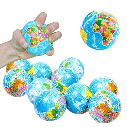 Toy Cubby Hand World Map Squeeze Globe Stress Balls - 3 inches, 12 pieces ()