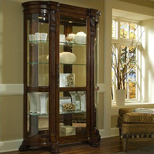 Pulaski Curved End Curio, 53 by 17 by 82-Inch, Brown (Curved Glass Curio Cabinet With)