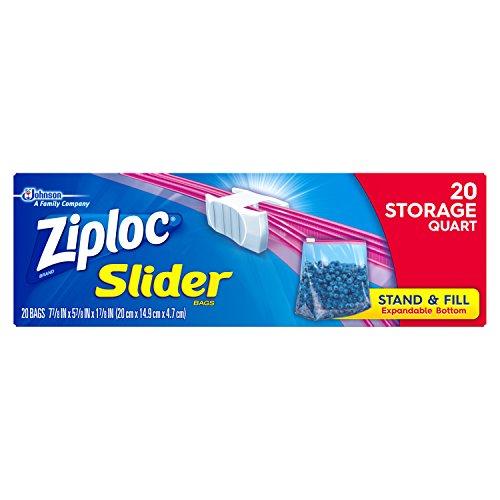 Ziploc Slider Storage Bags, Quart, 20 (Ziploc Quart)