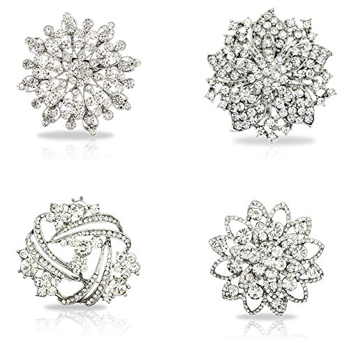 Danbihuabi Fashion Womens Clear Crystal Brooch Mixed Lot ()