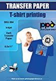 PPD Inkjet Iron-On Dark T Shirt Transfers Paper LTR 8.5x11'' Pack of 10 Sheets (PPD004-10)