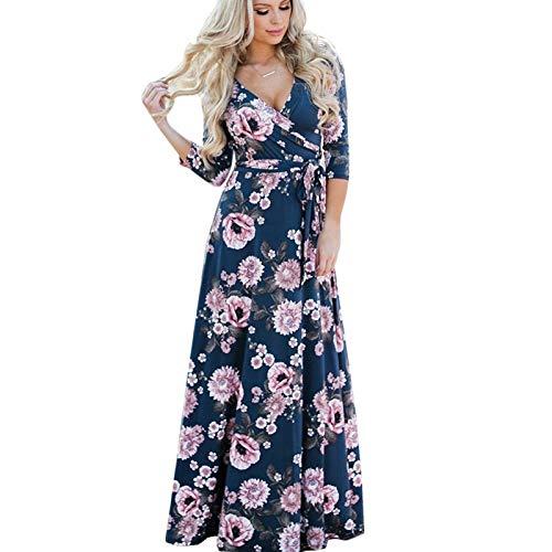 Lungo Stampa A Floreale Gmza V Scuro Maxi Vintage Donna Blu Con Xxl Scollo Abito Dress Beach Style Boho Bandage Summer wxffIzX1qY