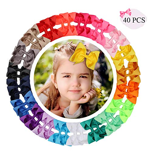 "CN 40Pcs 4"" Hair Bows Grosgrain Ribbon Alligator Clips Hand-made Barrettes Solid Color Boutique Accessories For Teens Girls Children Kids In Pairs"