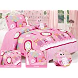 Twin Owl Friends Comforter set with matching Sham and Toy Pillow Hot Pink, White, Green, Yellow, Blue.