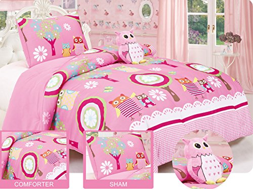 Twin Owl Friends Comforter set with matching Sham and Toy Pillow Hot Pink, White, Green, Yellow, Blue. Friends Twin Comforter