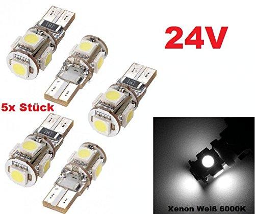 5 X Confezione da 24 Volt W5 W/T10 5 X Power SMD –  Xenon Bianco –  estremamente Luminosa –  soffitten LED 24 V per camion Canbus Luce targa bagagliaio, illuminazione