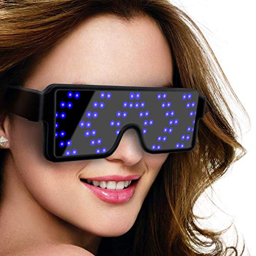 SZOKLED Dynamic LED Glowing Glasses Party Favor, USB Rechargeable LED Light Up Eyeglasses with Flashing Neon, 8 Patterns LED Luminous Glasses for Halloween Nightclub Christmas, 2-Pack (Blue and Red)