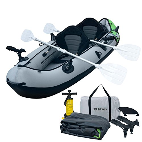 (Elkton Outdoors Cormorant 2 Person Tandem Inflatable Fishing Kayak, 10-Foot with EVA Padded Seats, Includes 2 Active Fishing Rod Holder Mounts, 2 Aluminum Paddles, Double Action Pump and More)