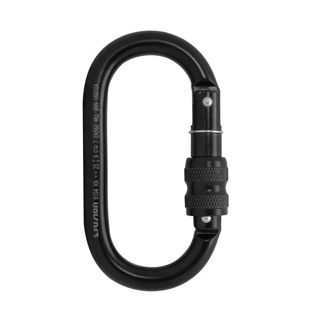 Black FP-9104B-SG-10P Fusion Climb Ovatti Steel Screw-Lock Gate Oval-Shaped Carabineer 10 Pack