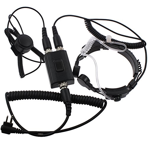 Tenq Professional Tactique Military Police FBI Flexible Throat Mic Microphone Covert Acoustic Tube Earpiece Headset for 2-pin Motorola Radio CP040 CP200 XTNi DTR VL50 ()