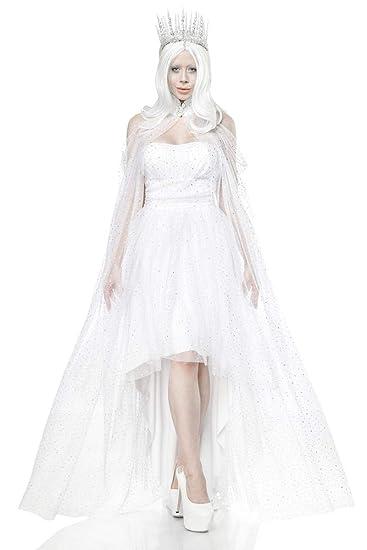 Unbekannt Langes Kostüm Königin Verkleidung Damen Weiße Fantasy Aus PXkiZu