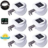 Cheap Solar Gutter Lights, DS Lighting Outdoor 9 LED Fence Light Waterproof Security Lamps for Eaves Garden Landscape Pathway (Cool White, 6 Pack)