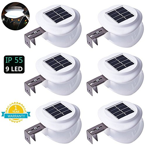 Solar Gutter Lights, DS Lighting Outdoor 9 LED Fence Light W