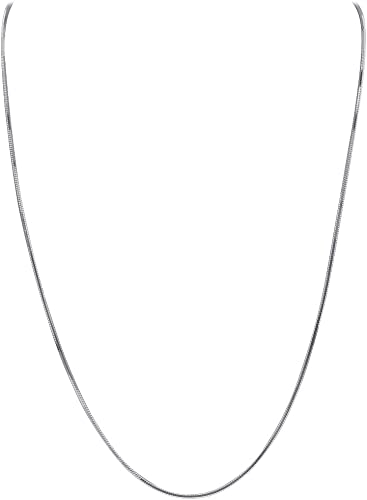 1mm 925 Sterling Silver Italian Square Snake Chain Necklace made in italy
