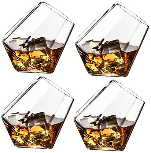 The Wine Savant Diamond Whiskey Glasses, Scotch, Bourbon or Wine Glasses, Set of 4 Old Fashion Elegant Spirits Glasses