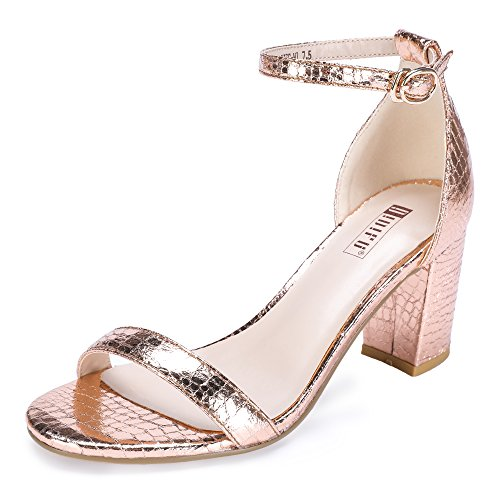 (IDIFU Women's IN3 Cookie-MI Open Toe Mid Block Heel Dress Pump Sandal (Champagne, 10 B(M) US))