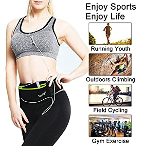 CyberDyer Running Belt Waist Pack - Adjustable Fanny Pouch for Runners Hands Free Workout - iPhone 6/7 Plus Hiking Gear Marathon for Men and Women (Black(Green))