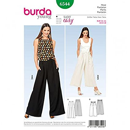 Amazon Burda Ladies Easy Sewing Pattern 60 Wide Leg Pants Best Pants Sewing Pattern