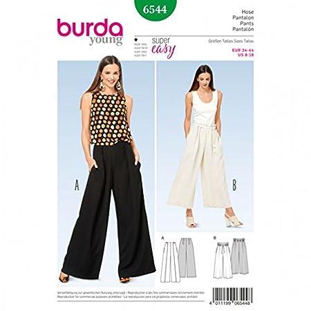 Burda Ladies Easy Sewing Pattern 6544 Wide Leg Pants: Amazon.co.uk ...
