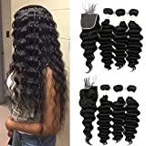 Ugrace Hair Loose Deep Wave Bundles with Closure Brazilian Hair Bundles with Lace Closure Soft and Bouncy Loose Wave Bundles and Crochet Closure with Baby Hair Natural Color 16 18 20+16 Inch Free Part