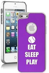 Apple iPhone 5c Aluminum Plated Chrome Hard Back Case Cover Eat Sleep Play Baseball Softball (Purple)