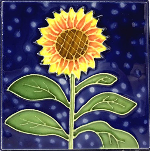 (1 , SUNFLOWER , Decorative Tile, Art on a Ceramic Tile, about, 4