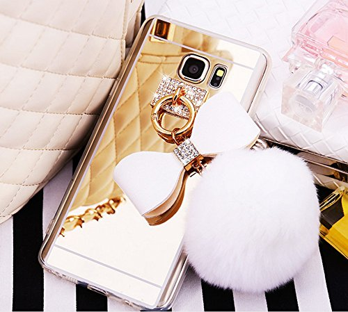 [Galaxy S6 Edge Case, Soft Silicone Mirror Back 3d White Sparkle Bling Diamond Ring Holder Bow Fluffy Puff Fur Ball Softball Cute for Girls Ultra Thin Slim Clear Cover for Samsung Galaxy S6] (Hair Bows Finger)